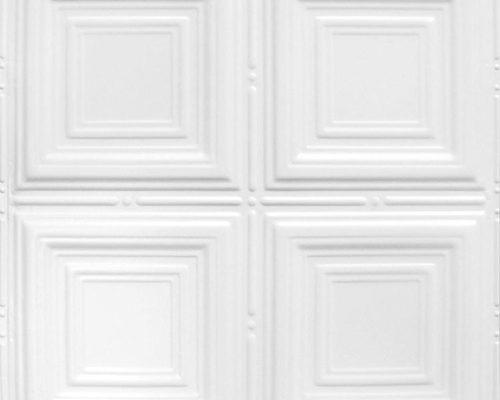 Stalen plafondtegel wit met patroon