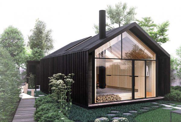 Een tiny house met glazen gevel en stalen pui
