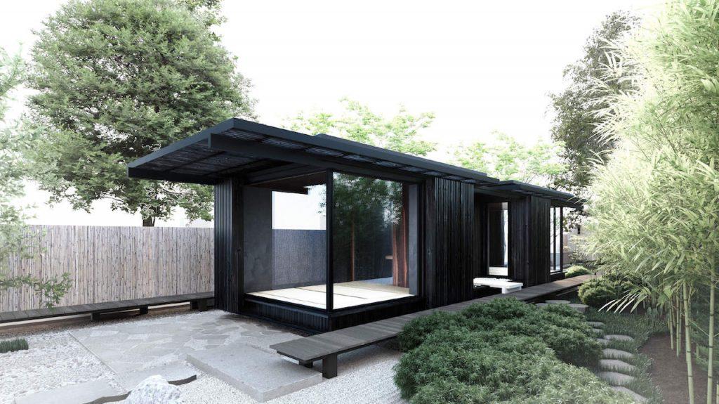 Tiny house met glazen pui om buiten naar binnen te halen