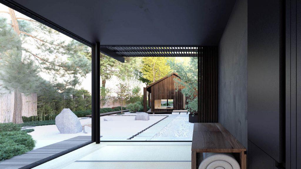 Tiny house met glazen gevel en stalen buitenpui